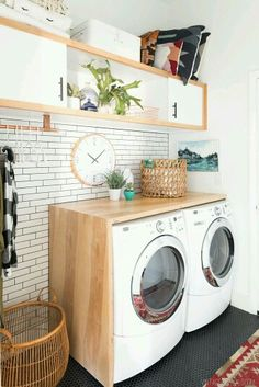 Practical Home laundry room design ideas 2018 Laundry room decor Small laundry room ideas Laundry room makeover Laundry room cabinets Laundry room shelves Laundry closet ideas Pedestals Stairs Shape Renters Boiler Laundry Room Design, Laundry In Bathroom, Laundry Closet, Basement Laundry, Laundry In Kitchen, Laundry Room Countertop, Garage Laundry, Laundry Decor, Modern Laundry Rooms