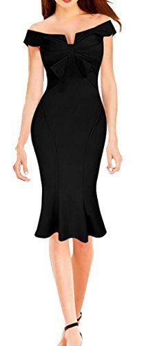 XQS Womens Sleeveless Bodycon Party Office Midi Fishtail Dress Black M -- Amazon most trusted e-retailer #BlackMinis