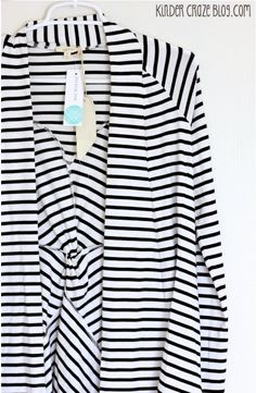 Clove Twist Back Striped Cardigan from Stitch Fix - I love the color, pattern and interesting twist back detail of this cardigan