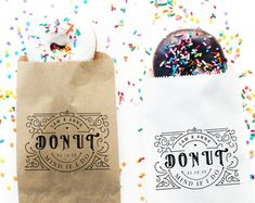 Donut Favor Bag Wedding Favor Bags Personalized Wedding | Etsy Wedding Favor Bags, Custom Bags, Personalized Wedding, Donuts, Party Favors, Reusable Tote Bags, Etsy, Frost Donuts, Beignets