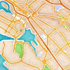 maps.stamen.com - type in a location, it generates a map in watercolor that you can print and frame