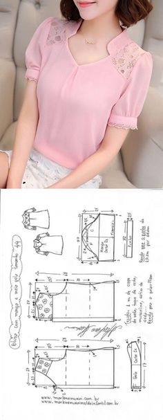 Sewing Blusas Blusa manga fofa e meia gola Dress Sewing Patterns, Blouse Patterns, Clothing Patterns, Blouse Designs, Pattern Sewing, Pants Pattern, Neck Pattern, Fashion Sewing, Diy Fashion