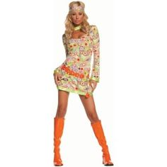 Adult Groovy Chick Hippie Costumes-Womens Costumes-Halloween Costumes-Party City party-city-s-pin-a-party-win-a-party-contes 1960s Costumes, Adult Costumes, Costumes For Women, Group Costumes, Disco Costume, Flapper Costume, 50s Costume, Hippie Style, Hippie Bohemian