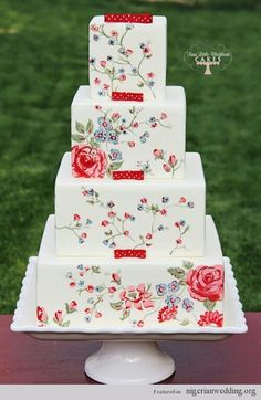 Beautiful Cake Pictures: Hand Painted Little Flowers Wedding Cake Photo: Cakes with Flowers, Wedding Cakes Painted Wedding Cake, Wedding Cake Red, Square Wedding Cakes, Wedding Cake Photos, Unique Wedding Cakes, Floral Wedding, Rose Wedding, Rustic Wedding, Square Cakes