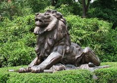 Lion Sculpture at National Zoo Entrance in Washington, DC