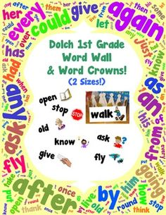 Winter word wall vocabulary cards winter words vocabulary cards word wall and word crowns with pictures dolch 1st first grade sciox Gallery