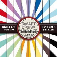 Retro SunBurst Ray Patterns digital paper 03 18 Sheets