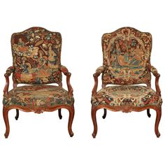 Pair of Louis XV Needlepoint Fauteuils | From a unique collection of antique and modern armchairs at https://www.1stdibs.com/furniture/seating/armchairs/