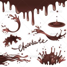 Chocolate Splashes by mart_m Chocolate splashes set. Eps 10 and Ai CS 3 included. Text is outlined vector shapes and thus is not editable. Free Vector Art, Free Vector Images, Chocolate Chip Cookies, Chocolate Quotes, Plant Vector, Artist Supplies, Chocolate Bouquet, Chocolate Packaging, Packaging