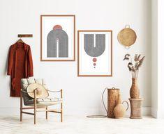Modern Prints, Modern Wall Art, Mid-century Modern, Art Prints, Mid Century Modern Art, Mid Century Art, Orange Wall Art, Portrait Wall, Minimalist Art