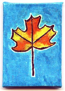 love this Autumn leaf on mini canvas  Art Projects for Kids
