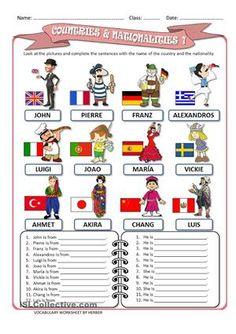 Resultado de imagen de countries and nationalities