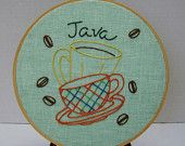 Dish Towel - Cafe Mocha - Hand Embroidered Flour Sack. $12.00, via Etsy.