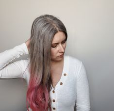 Natural grey roots with a little pink fun on the ends! Gray Hair Growing Out, Transition To Gray Hair, Pink Tone, Awesome Hair, Grow Out, Grey Hair, Silver Hair, Roots, Cool Hairstyles