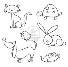 Hand drawn cartoon pets Stock Photo