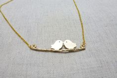 Two Little Love Bird Necklace in Gold by XeSDesign on Etsy, €8.99