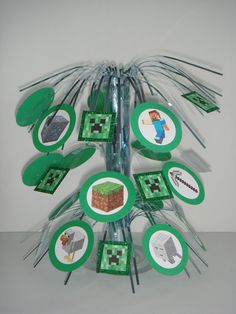 Minecraft birthday party table centerpiece decoration