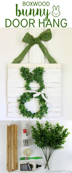 Boxwood Bunny Door Hang | Simple Easter Decor |  Bunny  Wreath