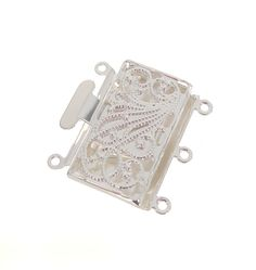 Silver Plated Fancy 3 Strand Push/Pull Clasp, 22mm