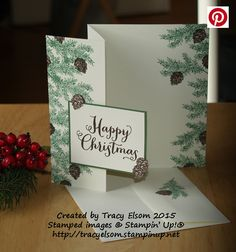 This Christmas card was created using the Winter Wishes and Oh What Fun Stamp Sets from Stampin' Up! #WCMD2015 http://tracyelsom.stampinup.net