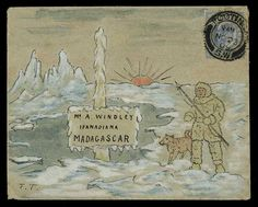 1909 (Nov.) hand painted envelope depicting a polar scene with an Eskimo and husky, sent from Tooting to Madagascar.