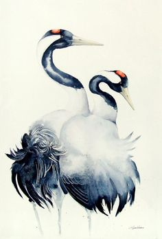 Common Cranes,  bird, birds, animals, wildlife watercolour painting - Full-frontal image, unframed