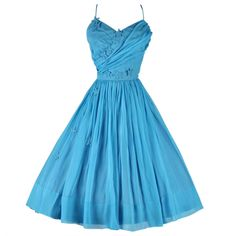 Vintage Ellen Kaye Deadstock Turquoise Silk Cocktail Dress | From a collection of rare vintage evening dresses at http://www.1stdibs.com/fashion/clothing/evening-dresses/