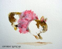 Ballerina Bunny painting watercolor