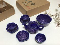 블루 안개꽃 5인 다기 셋트 Blue Baby's breath Tea and saucer, a set of five. https://www.facebook.com/pages/ysGayayo/339056266284380