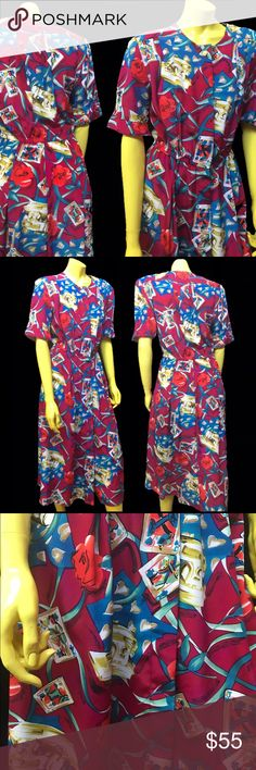 """•🃏80s Playing Card Rose Abstract Art Dress 🌹• Gorgeous tornado 🌪 of playing cards 🃏🌀roses 🌹cross-hatching ribbons 🎀 and rand-o sewing machines ✂️❗️flaired skirt and buttons all the way to the top; can be worn as a duster as well ✔️✨ . • Steven Barry • 💯% Polyester • 8 • Made in Philippines 🇵🇭 • . • Bust: 33"""" • • Waist: 30-32"""" •  • Length: 45"""" •  . #vintage #vtg #retro #1980 #1980s #80 #80s #abstract #art #rose #roses #ribbon #floral #playing #card #vegas #sewing #craft #surreal…"""