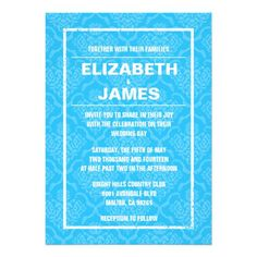 DealsRustic Vintage Blue Damask Wedding Invitations Personalized Inviteonline after you search a lot for where to buy