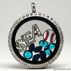 Seattle baseball themed locket necklace from SportLockets.com.  Customize this jewelry with your own letters!