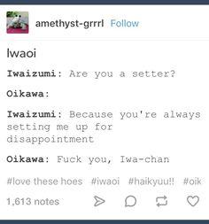that's mean iwa-chan! Oikawa X Iwaizumi, Iwaoi, Kagehina, Haruichi Furudate, Haikyuu Meme, Volleyball Players, Percy Jackson, Prompts, Give It To Me