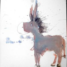 Punk Donkey.. maybe youd call that a Punkey?... Art watercolor acrylic doodle art painting artistsoftumblr watercolor