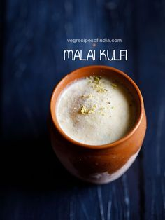 malai kulfi recipe with step by step photos and video- easy and delicious kesar pista malai kulfi recipe made without condensed milk or mawa (khoya). malai kulfi is one of the family favorites. though i have posted Kulfi Recipe Easy, Malai Kulfi Recipe, Coconut Barfi Recipe, Egg Free Desserts, Eggless Desserts, Indian Dessert Recipes, Indian Sweets, Indian Recipes, Milk Recipes