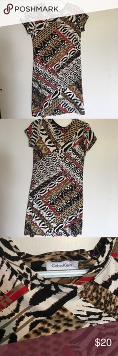 Calvin Klein tribal print dress Worn once! Rayon and spandex. Super soft dress. Great condition. Calvin Klein Dresses