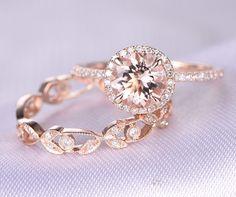2pcs Wedding Ring Set,Morganite Engagement ring,14k Rose gold,Full eternity diamond Matching Band,7mm Round Stone,Art deco Floral milgrain by milegem on Etsy https://www.etsy.com/listing/271397004/2pcs-wedding-ring-setmorganite