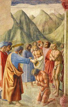 Masaccio pintó en la Capilla Brancacci a San Pedro bautizando a los conversos. Y lo pintó con realismo, sin solemnidad, hasta el punto de que los representó tiritando de frío mientras esperaban, ya sin ropa, a meterse en el agua.