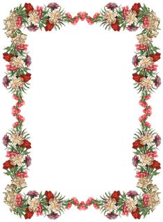 FREE digital vintage flower frame and border png with transparent background