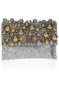 Anya Hindmarch Valorie Bells embellished glitter-finished leather clutch, Lanvin earrings, Victoria Beckham dress, Jimmy Choo Shoes