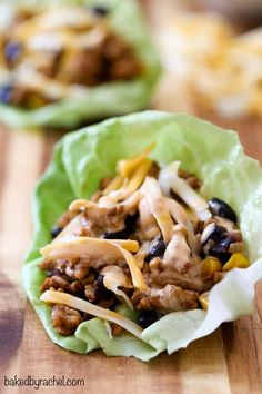 Chicken taco lettuce wraps with chipotle sour cream sauce recipe from @bakedbyrachel