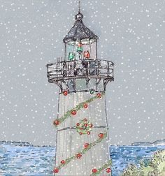 Christmas lighthouse- Fine art card set of five, landscape painting of beautiful New England Lightouse 5.5 by 4.25 inches. $14.00, via Etsy.