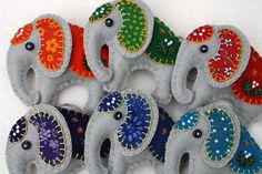 Felt elephant ornament Handmade elephant by PuffinPatchwork