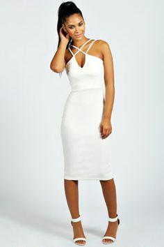 Zara Strappy Detail Bodycon Midi Dress