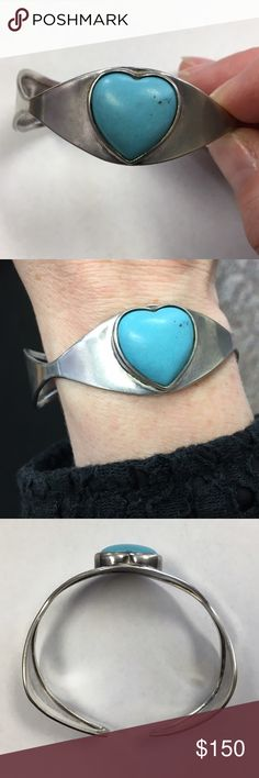 Genuine ❤️-shaped turquoise & sterling silver cuff Genuine heart-shaped turquoise and 925 sterling silver one-of-a-kind cuff. I got this about 20 years ago as a Christmas gift but never find myself reaching for it anymore. Time for a new home. I polished it up some but it could be made to shine, if you're not a fan of any patina. I'm open to reasonable offers and give bundle discounts! 😊☮️💜✌️️ Jewelry Bracelets