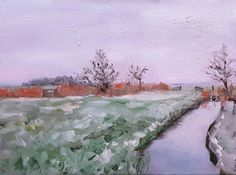Original Dutch oil painting on canvas of a view in the Netherlands in winter, close to my home. Painted outside, on location on an early morning. The sky was mauve, so beautiful. It was cold! Size: 30 x 40 cm, 12,5 x 15,5 inches.