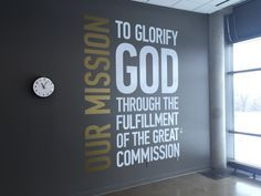 Mission Statement Wall - this could be combined with one of the art projects. This looks very crisp. If combined with an art project, it could be moveable since our space is shared. Youth Ministry Room, Youth Group Rooms, Church Ministry, Ministry Ideas, Church Lobby, Church Foyer, Church Office, Church Interior Design, Church Stage Design