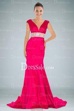 Dreamy Deep Neckline Fuchsia Evening Dress with Crystal Waistline