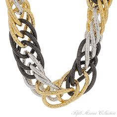 A curb chain finished in gold, silver and black for ease of accessorizing. A neckpiece from Fifth Avenue Collection.