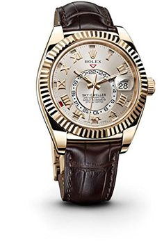 beb4dd19840 Rolex Sky Dweller Silver Dial 18kt Yellow Gold Brown Leather Mens Watch  326138 Rolex http